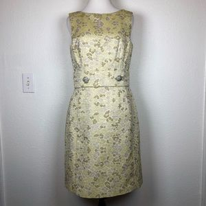 Kay Unger gold metallic holiday cocktail dress 6
